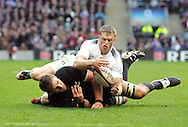 © Andrew Fosker / Seconds Left Images 2010 - England's Chris Ashton looks to get the ball ahead of New Zealand's Kieran Read -  England v New Zealand All Blacks - Investec Challenge Series - 06/11/2010 - Twickenham Stadium  - London - All rights reserved..
