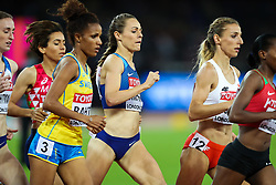 London, 2017 August 07. Eventual silver medalist Jennifer Simpson, USA, bides her time within the pack in the early stages of the women's 1,500m final on day four of the IAAF London 2017 world Championships at the London Stadium. © Paul Davey.