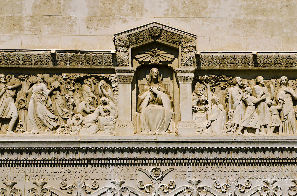 Detail on the Fourvière Basilica in old town Vieux Lyon, France (UNESCO World Heritage Site)
