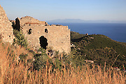 Ruined building in the old town of the hilltop town of Himare, in Vlore in the Albanian Riviera on the Ionian Coast, Southern Albania. Picture by Manuel Cohen