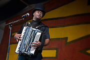 Zydeco accordionist Sunpie Barnes performing on the Congo Square Stage on Day 4 at the New Orleans Jazz and Heritage Festival at the New Orleans Fair Grounds Race Course in New Orleans, Louisiana, USA, 29 April 2010.