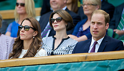 02.07.2014, All England Lawn Tennis Club, London, ENG, WTA Tour, Wimbledon, im Bild Catherine Middleton and William Windsor (Duke and Dutchess of Cambridge) during the Ladies' Singles Quarter-Final match on day nine // during the Wimbledon Championships at the All England Lawn Tennis Club in London, Great Britain on 2014/07/02. EXPA Pictures © 2014, PhotoCredit: EXPA/ Propagandaphoto/ David Rawcliffe<br /> <br /> *****ATTENTION - OUT of ENG, GBR*****