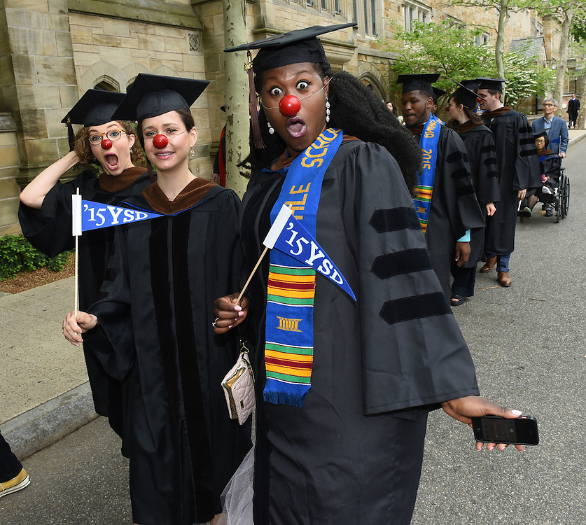 May 18, 2015<br /> Yale School of Drama graduates gather and march to Cross Campus before their Yale Commencement.