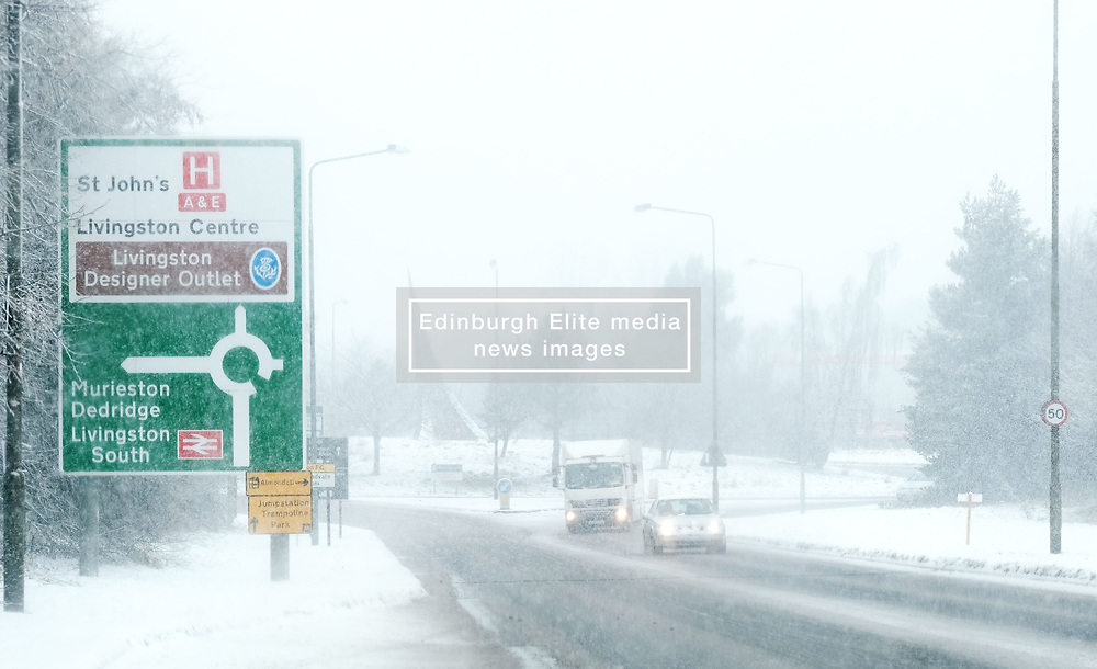 Heavy Snowfall in West Lothian, Wednesday, 4th April 2018<br /> <br /> More heavy snow fell in West Lothian this afternoon causing traffic problems for drivers<br /> <br /> Alex Todd | EEm