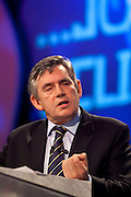 The Right Honourable Gordon Brown MP Prime Minister. Labour, Kirkcaldy and Cowdenbeath. Seen here speaking at the TUC Conference 2009.