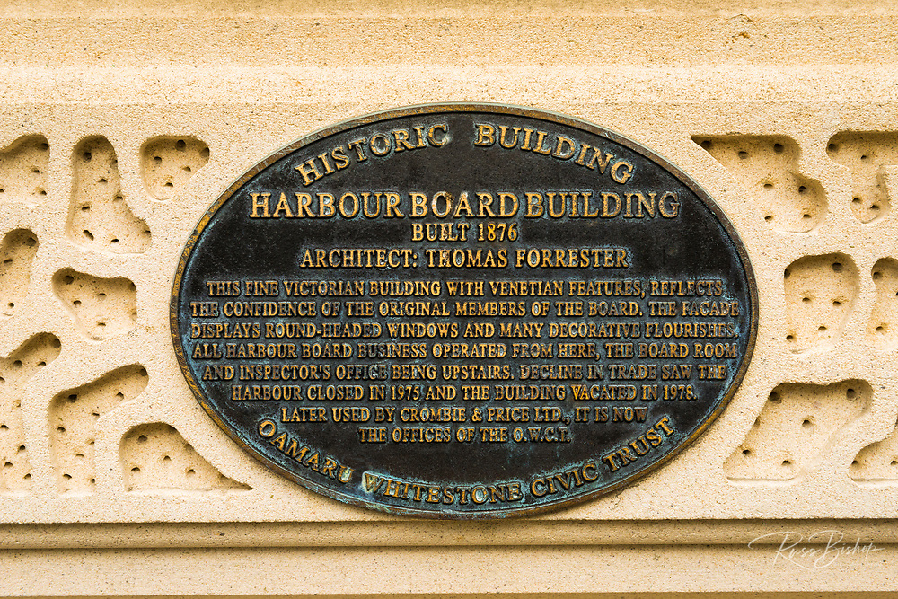 Historic plaque at the Harbour Board Building, Oamaru, Otago, South Island, New Zealand
