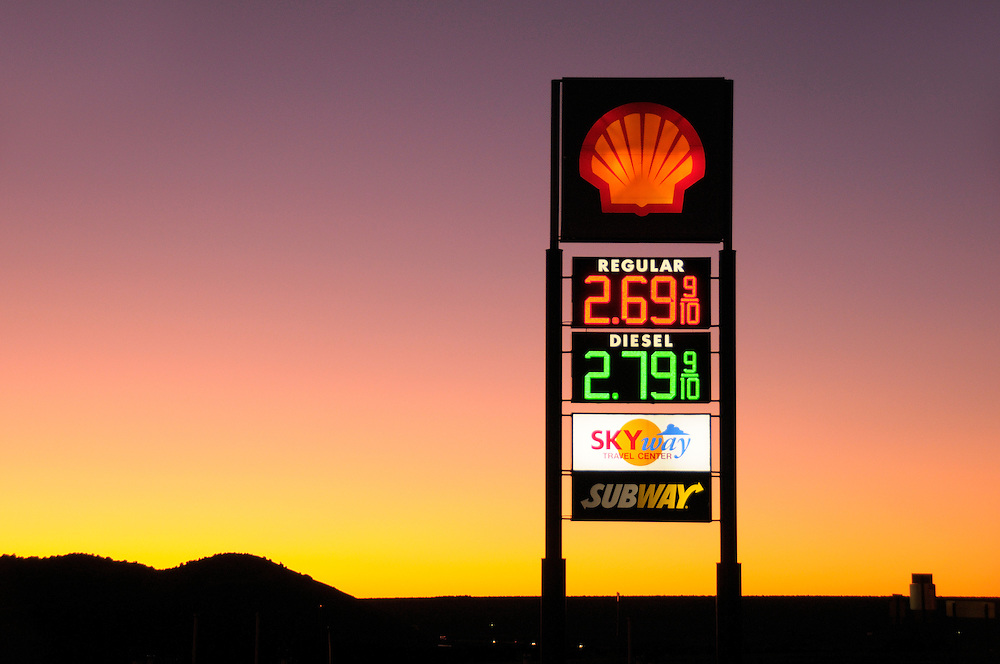 Gas Station at dawn, Grants, New Mexico, USA