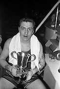 25/01/1963<br /> 01/25/1963<br /> 25 January 1963<br /> National Junior Boxing Championships at the National Stadium, Dublin. Picture shows B. Chadwick of St. Eugene's Boxing Club, Derry, the National Junior Heavyweight Champion of Ireland 1963 with his trophy, when he beat J.B. Coker of Dublin University.