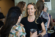Sarah Farrant of NINICO Communications networks during SVBJ's BizMix presented by SWENSON at The Grad in Downtown San Jose, California, on July 31, 2019. (Stan Olszewski for Silicon Valley Business Journal)