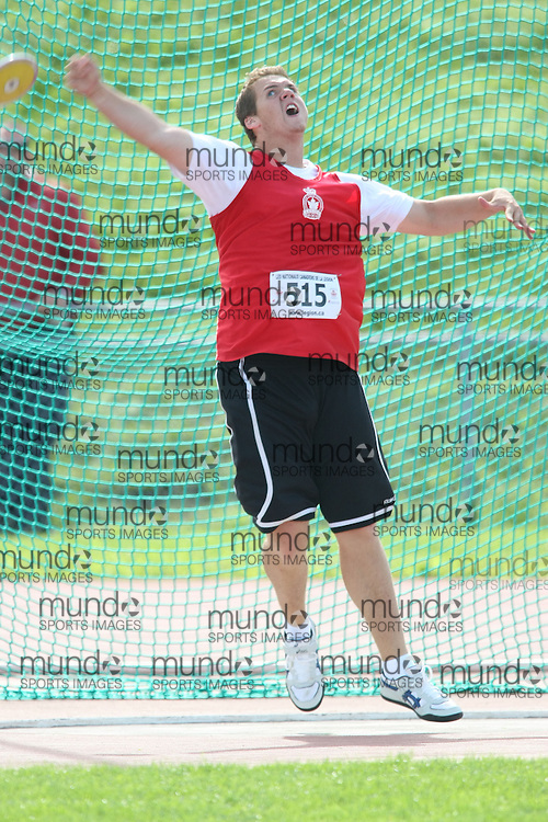 (Sherbrooke, Quebec---10 August 2008) Stefan Palios competing in the youth boys discus at the 2008 Canadian National Youth and Royal Canadian Legion Track and Field Championships in Sherbrooke, Quebec. The photograph is copyright Sean Burges/Mundo Sport Images, 2008. More information can be found at www.msievents.com.