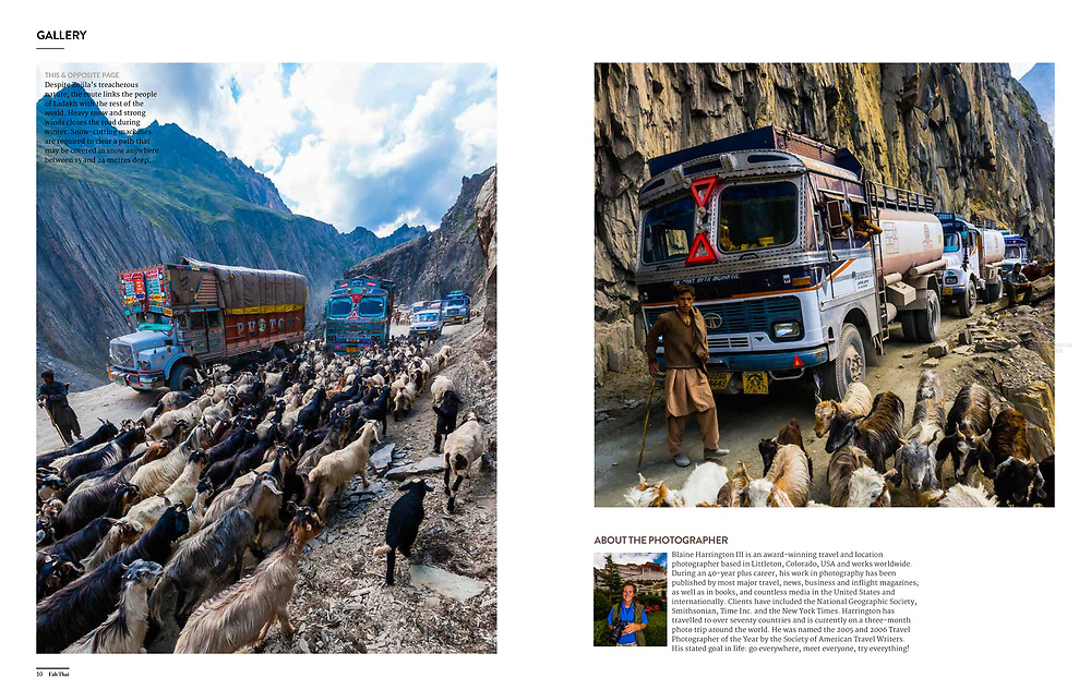 """A photo essay """"Dangerous Beauty"""" about Zojila Pass between Ladakh and Kashmir in India, considered one of the most dangerous roads in the world appearing in Fah Thai, the inflight magazine of Bangkok Airways by photographer Blaine Harrington III."""