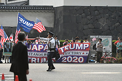 May 27, 2019 - Tokyo, Japan - The president of the United States Donald Trump leaves the Imperial Palace Hotel in Tokyo Japan to attend a state banquet host by Emperor Naruhito. US President Donald Trump is the first president to meet Emperor Naruhito since he took power a the beginning of May. Photo taken on May 27, 2019. Photo by: Ramiro Agusitn Vargas Tabares (Credit Image: © Ramiro Agustin Vargas Tabares/ZUMA Wire)