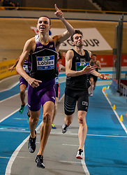 Djoao Lobles wins the 400 meters and Maarten Plaum comes in second during the Dutch Indoor Athletics Championship on February 23, 2020 in Omnisport De Voorwaarts, Apeldoorn