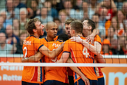 09-06-2019 NED: Golden League Netherlands - Spain, Koog aan de Zaan<br /> Fourth match poule B - The Dutch beat Spain again in five sets in the European Golden League / Wessel Keemink #2 of Netherlands, Nimir Abdelaziz #14 of Netherlands