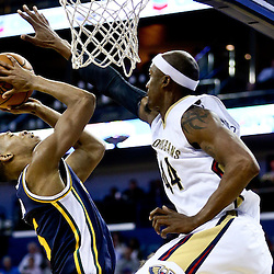 Feb 10, 2016; New Orleans, LA, USA; Utah Jazz guard Rodney Hood (5) shoots over New Orleans Pelicans forward Dante Cunningham (44) during the second half of a game at the Smoothie King Center. The Pelicans defeated the Jazz 100-96. Mandatory Credit: Derick E. Hingle-USA TODAY Sports