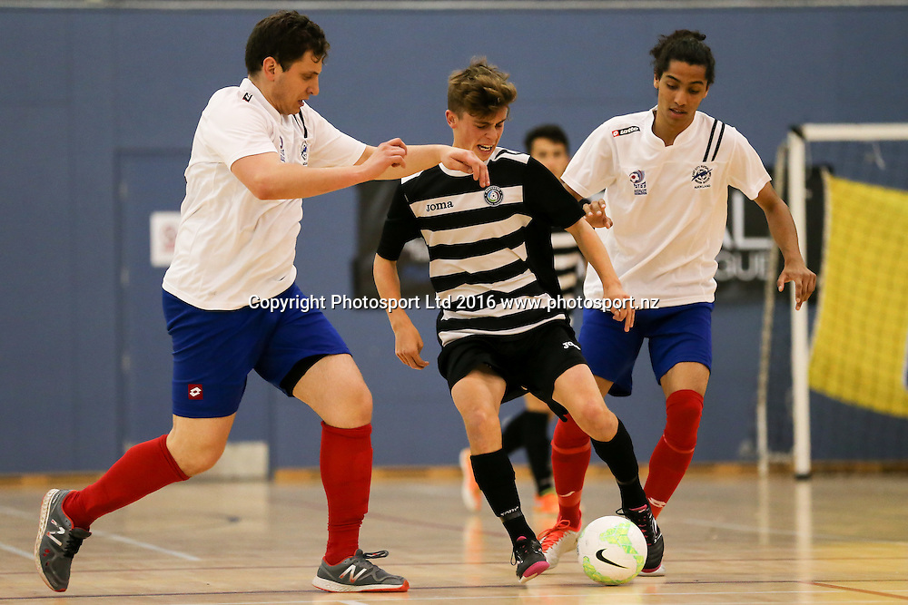 Northern's Oban Hawkins on the ball. 2016 NZ Football Futsal National League, Northern Futsal v AFF Futsal, Massey University Albany, Sunday 9th October 2016. Copyright Photo: David Joseph / www.photosport.nz