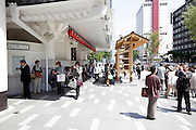 people in front of the Kabuki theater in Higashi Ginza Tokyo Japan Newly opened in May 2013 designed by Kengo Kuma