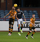 Alloa Athletic's Kris Renton and Dundee&rsquo;s Sam Dryden compete in the air - Dundee under 20s v Alloa Athletic in the Irn Bru Cup Round 1 at Dens Park, Dundee - photograph by David Young<br /> <br />  - &copy; David Young - www.davidyoungphoto.co.uk - email: davidyoungphoto@gmail.com