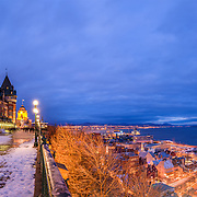 The Fairmont Le Chateau Frontenac in Quebec city, stands tall and overlooks the St Lawrence river. This magnificent hotel has an unparalleled view of they old city of Quebec below and the magnificent river.