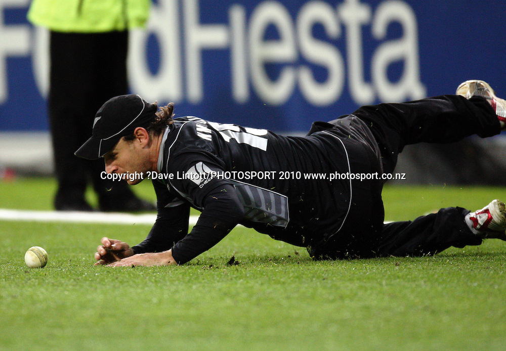 NZ's Nathan McCullum stops a ball from reaching the boundary.<br /> Fifth Chappell-Hadlee Trophy one-day international cricket match - New Zealand v Australia at Westpac Stadium, Wellington. Saturday, 13 March 2010. Photo: Dave Lintott/PHOTOSPORT