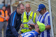 Russ Wilcox greets the opposition fans during the Friendly match between York City and Sheffield Wednesday at Bootham Crescent, York, England on 18 July 2015. Photo by Simon Davies.