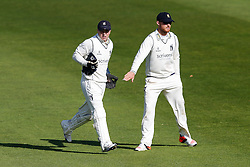 Tim Ambrose of Warwickshire (L) celebrates after catching out Marcus Trescothick (capt) of Somerset for 87 (b. Mark Adair) - Mandatory byline: Rogan Thomson/JMP - 07966 386802 - 22/09/2015 - CRICKET - The County Ground - Taunton, England - Somerset v Warwickshire - Day 1 - LV= County Championship Division One.