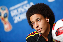 July 13, 2018 - Saint Petersburg, Russia - Axel Witsel of Belgium attends a press conference ahead of the 2018 FIFA World Cup Russia third-place match against Belgium on July 13, 2018 at Saint Petersburg Stadium in Saint Petersburg, Russia. (Credit Image: © Mike Kireev/NurPhoto via ZUMA Press)