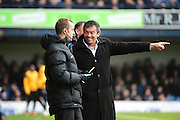 Southend United manager Phil Brown points out a problem during the EFL Sky Bet League 1 match between Southend United and Charlton Athletic at Roots Hall, Southend, England on 31 December 2016. Photo by Jon Bromley.