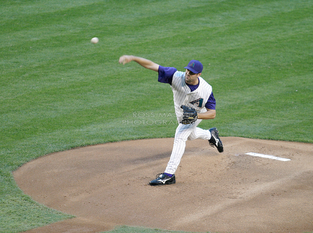Phoenix, AZ-04-28-04 Arizona Diamondbacks rookie starter Casey Daigle throws a pitch to the Chicago Cubs in the 1st inning in a 4-3 loss. Daigle pitched 7 innings allowing 3 hits and 3 runs. Ross Mason photo