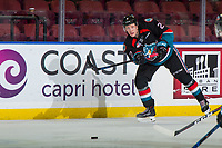 KELOWNA, CANADA - OCTOBER 3:  Lassi Thompson #2 of the Kelowna Rockets passes the puck against the Vancouver Giants on October 3, 2018 at Prospera Place in Kelowna, British Columbia, Canada.  (Photo by Marissa Baecker/Shoot the Breeze)  *** Local Caption ***