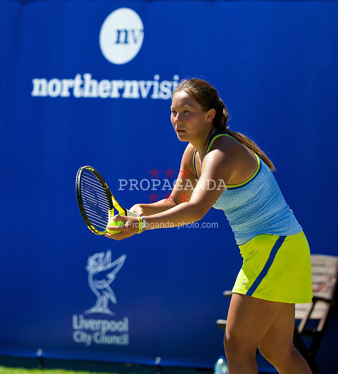 LIVERPOOL, ENGLAND - Friday, June 20, 2014: Tara Moore (GBR) during the Ladies' Singles Final on Day Two of the Liverpool Hope University International Tennis Tournament at Liverpool Cricket Club. (Pic by David Rawcliffe/Propaganda)
