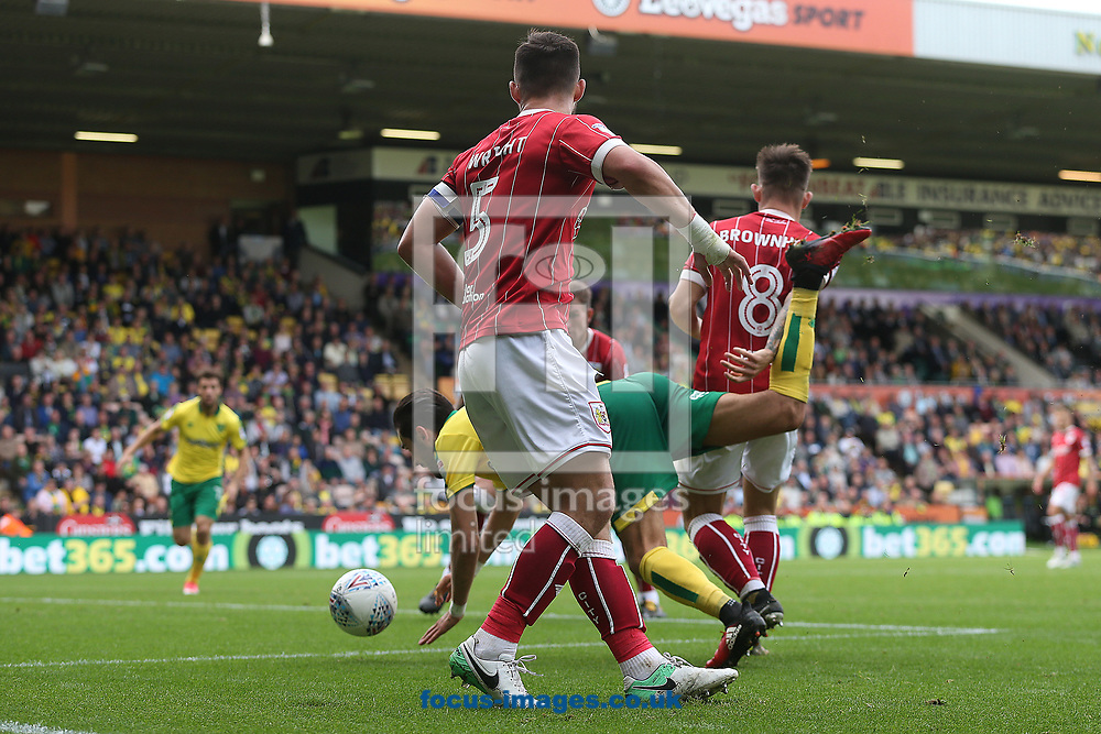 Mario Vrancic of Norwich goes over in the area during the Sky Bet Championship match at Carrow Road, Norwich<br /> Picture by Paul Chesterton/Focus Images Ltd +44 7904 640267<br /> 23/09/2017