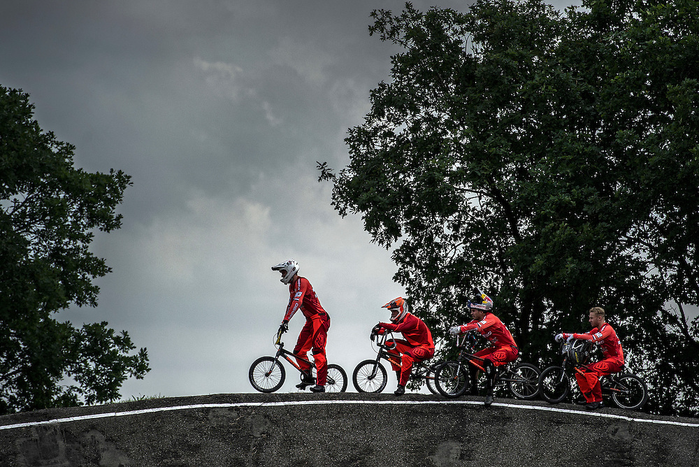 Netherlands. Arnhem, 28-06-2016. Copyright/Foto: Patrick Post. Dutch BMX team with in front Niek Kimmann.
