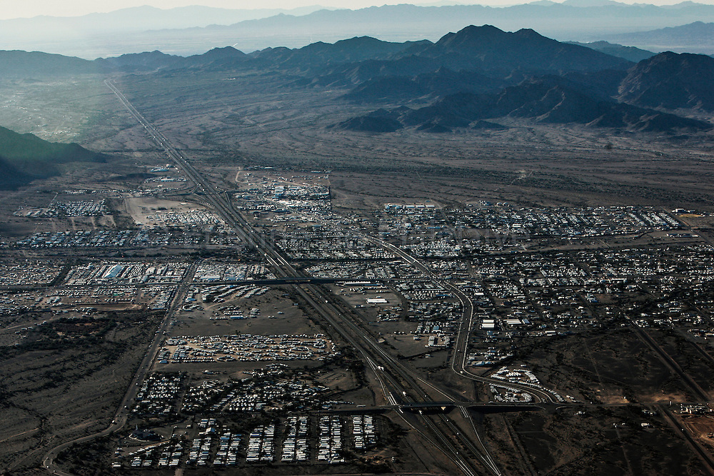 Aerial view of Quartzsite during winter high season. 20 January 2008.