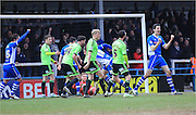 Grant Holt scores during the Sky Bet League 1 match between Rochdale and Sheffield Utd at Spotland, Rochdale, England on 27 February 2016. Photo by Daniel Youngs.