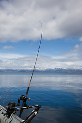 """Fishing Pole at Lake Tahoe 2"" - This fishing pole on a boat was photographed on the West shore of Lake Tahoe."