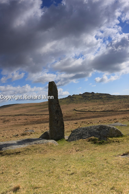 Kings Tor in the heart of Dartmoor, with a standing stone in the foreground. Portrait format with room for copy space.