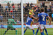 Christian Doidge scoring during the Sky Bet League 2 match between Carlisle United and Dagenham and Redbridge at Brunton Park, Carlisle, England on 12 September 2015. Photo by Craig McAllister.