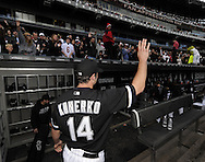 CHICAGO - OCTOBER 03:  Paul Konerko #14 of the Chicago White Sox waves to the fans as he leaves the field after the game against the Cleveland Indians on October 03, 2010 at U.S. Cellular Field in Chicago, Illinois.  The White Sox defeated the Indians 6-5.  (Photo by Ron Vesely)