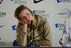 June 22, 2017 - Birmingham, England - ELINA SVITOLINA chats with the media after her second round match v. C. Giorgi at the Aegon Classic Birmingham tennis tournament. (Credit Image: © Christopher Levy via ZUMA Wire)