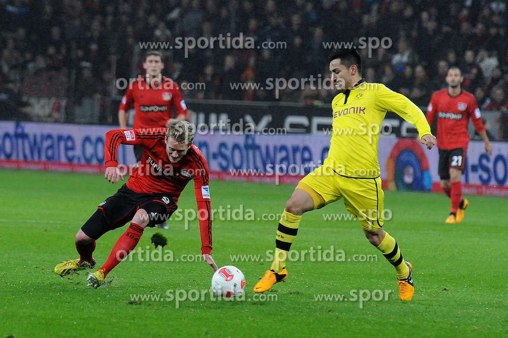 03.02.2013, BayArena, Leverkusen, GER, 1. FBL, Bayer 04 Leverkusen vs Borussia Dortmund, 20. Runde, im Bild Andre Schuerrle ( links Bayer 04 Leverkusen ) wird von Ilkay Guendogan ( rechts Borussia Dortmund/ Action/ Aktion ) gestoppt // during the German Bundesliga 20th round match between Bayer 04 Leverkusen and Borussia Dortmund at the BayArena, Leverkusen, Germany on 2013/02/03. EXPA Pictures © 2013, PhotoCredit: EXPA/ Eibner/ Thomas Thienel..***** ATTENTION - OUT OF GER *****