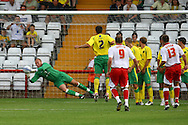 Stevenage - Tuesday July 20th, 2010:  John Ruddy of Norwich saves a free kick during the Pre Season Friendly match at the Lamex Stadium, Stevenage. (Pic by Paul Chesterton/Focus Images)