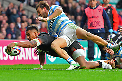 November 11, 2017 - London, England, United Kingdom - England's Nathan Hughes scores England's opening try during Old Mutual Wealth Series between England against Argentina at Twickenham stadium , London on 11 Nov 2017  (Credit Image: © Kieran Galvin/NurPhoto via ZUMA Press)