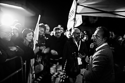 Sergio Puglia. Supporters of the 5 Star Movement awaiting the arrival of their leader Luigi Di Maio. Volla (NA) 6 March 2018. Christian Mantuano / OneShot