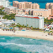 Aerial View of Punta Cancun and the Krystal hotel.