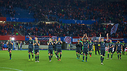 VIENNA, AUSTRIA - Thursday, October 6, 2016: Wales players applaud the travelling supporter after the 2018 FIFA World Cup Qualifying Group D 2-2 draw with Austria at the Ernst-Happel-Stadion. David Edwards Emyr Huws, James Chester, Ben Davies, Hal Robson-Kanu, Neil Taylor, captain Ashley Williams, Chris Gunter. (Pic by David Rawcliffe/Propaganda)