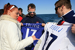 Spela Predan, Gregor Poloncic, Miha Rebolj  at whale watching boat when Poloncic (18), Golicic (17), Rebolj (27) and Razingar (9) were celebrating an anniversary of playing for Slovenian National Team for 100 (120) times, during IIHF WC 2008 in Halifax,  on May 07, 2008, sea at Halifax, Nova Scotia,Canada.(Photo by Vid Ponikvar / Sportal Images)
