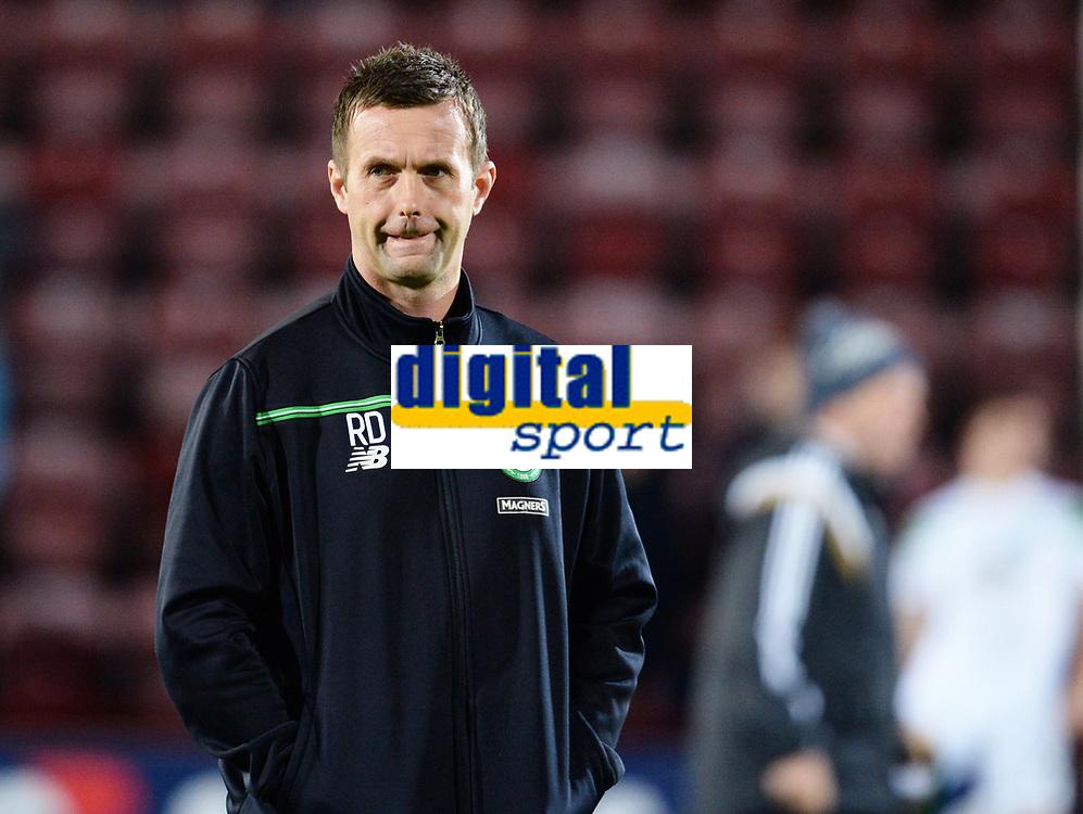 28/10/15 SCOTTISH LEAGUE CUP QUARTER-FINAL<br /> HEARTS v CELTIC<br /> TYNECASTLE - EDINBURGH<br /> Celtic manager Ronny Deila aehad of kick-off.