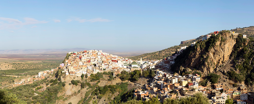 View over the Medina of Moulay Idriss Zerhoun, Middle Atlas, Morocco, 2015-09-19.