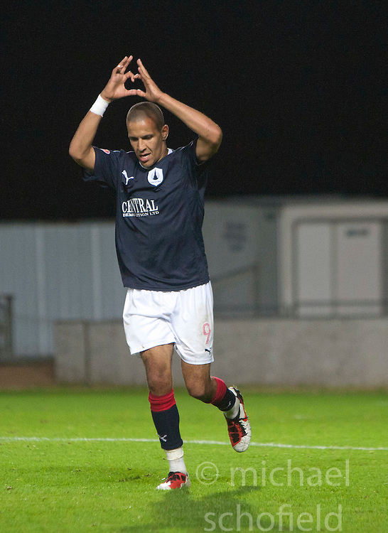 Falkirk's Farid El Alagui celebrates after scoring their second goal..Falkirk 3 v 2 Rangers..©Pic : Michael Schofield.